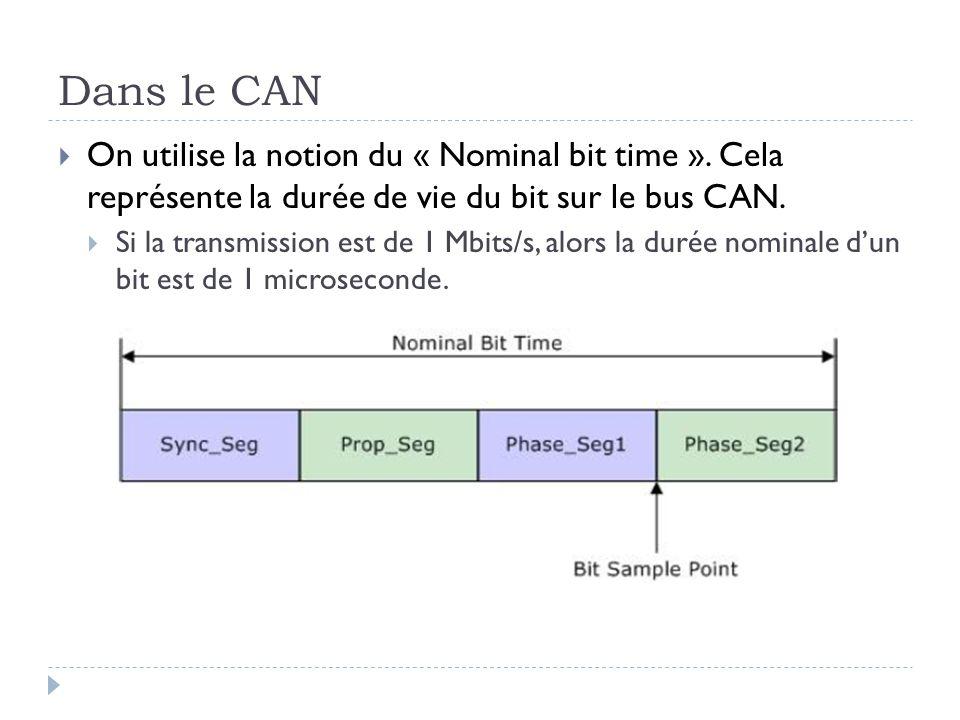 Dans le CAN On utilise la notion du « Nominal bit time ». Cela représente la durée de vie du bit sur le bus CAN.