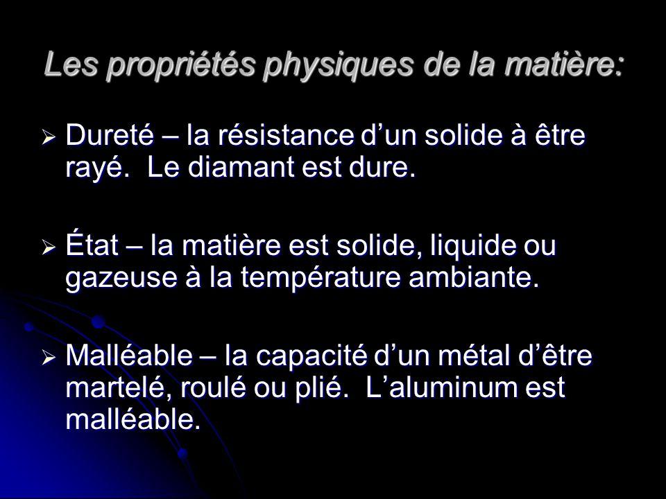 Les propriétés physiques de la matière: