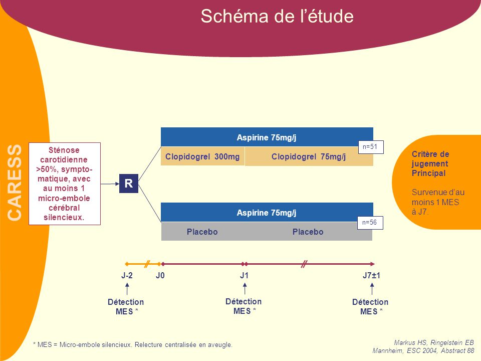 Schéma de l'étude R Aspirine 75mg/j Critère de jugement Principal