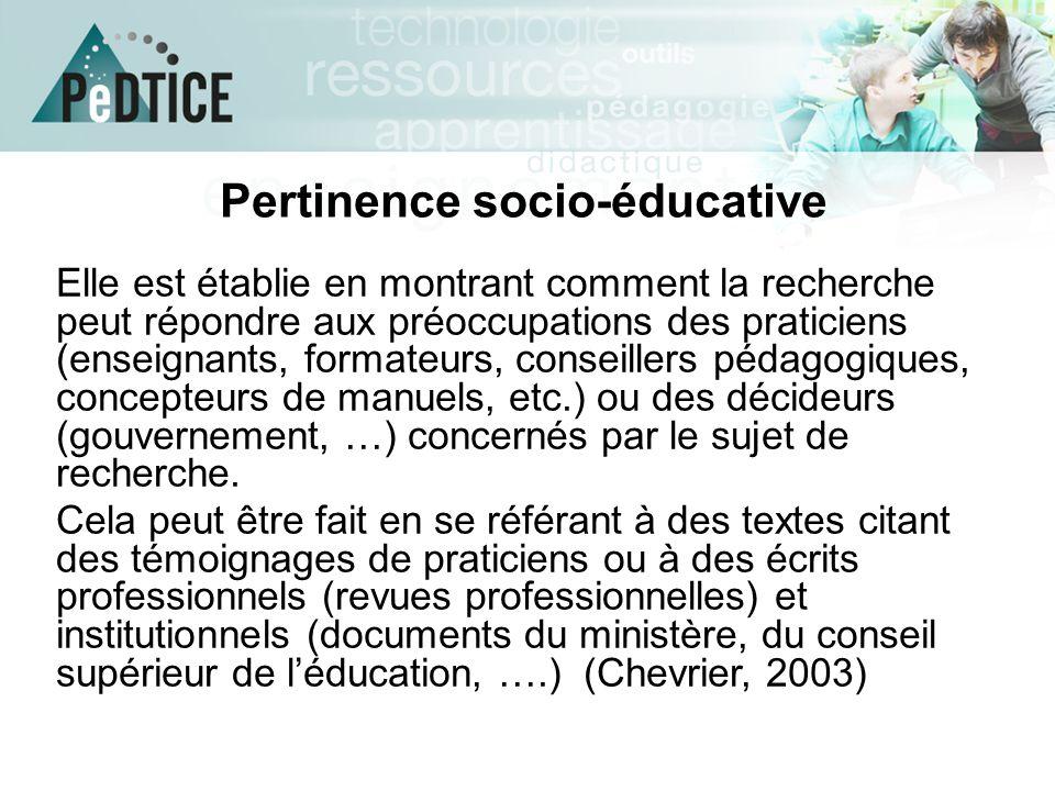 Pertinence socio-éducative