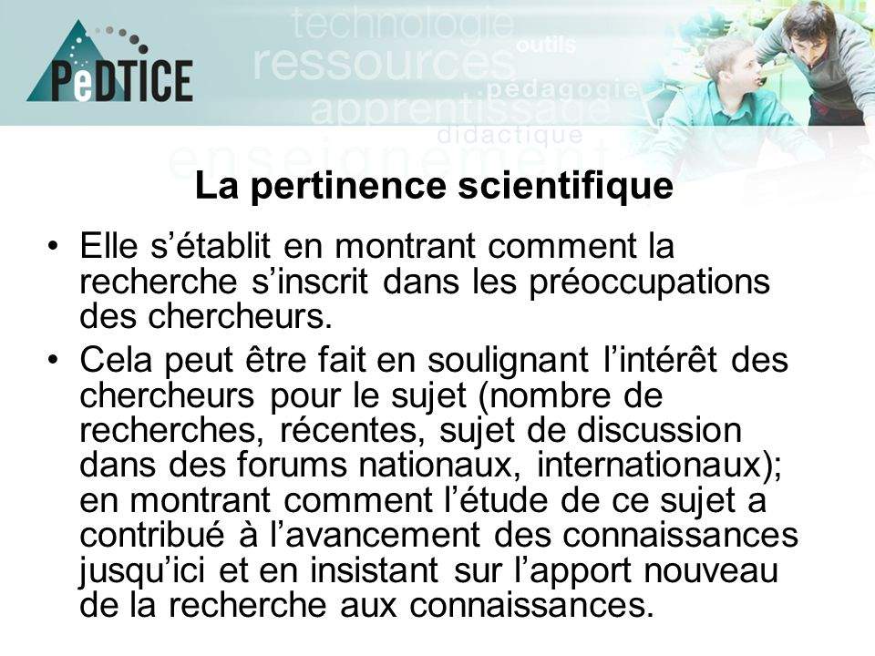 La pertinence scientifique