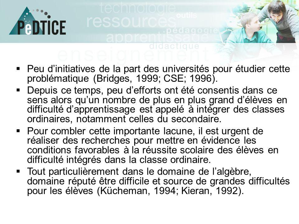 Peu d'initiatives de la part des universités pour étudier cette problématique (Bridges, 1999; CSE; 1996).