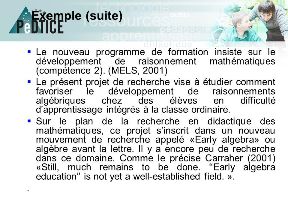 Exemple (suite) Le nouveau programme de formation insiste sur le développement de raisonnement mathématiques (compétence 2). (MELS, 2001)