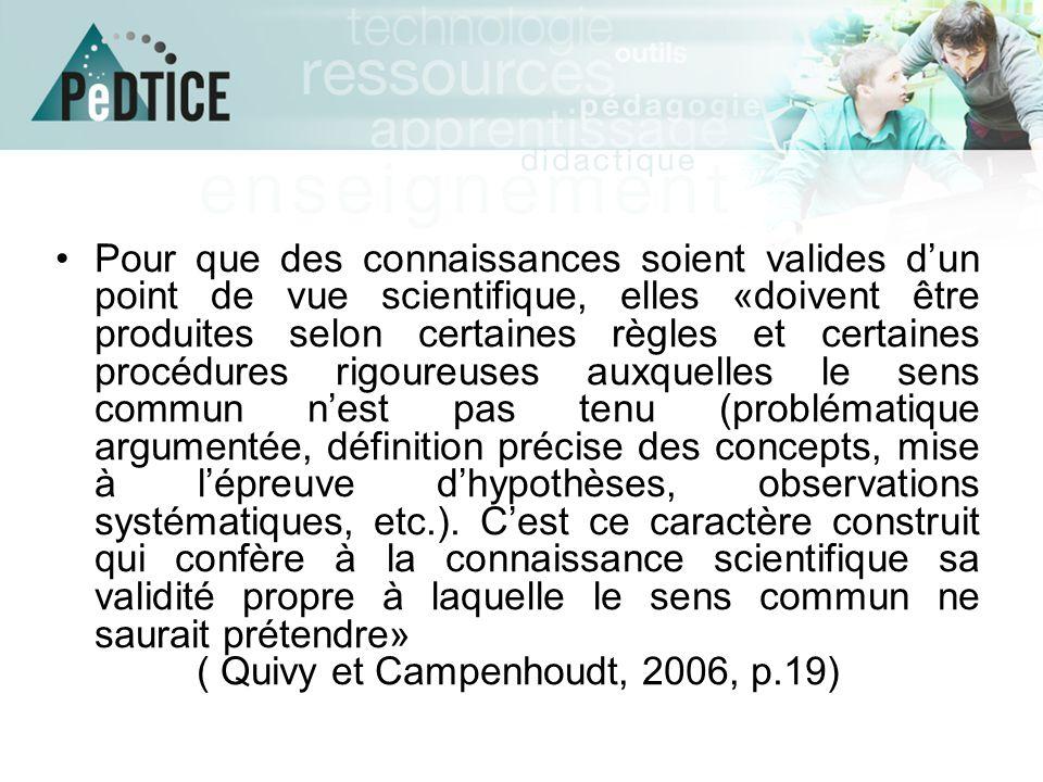 ( Quivy et Campenhoudt, 2006, p.19)