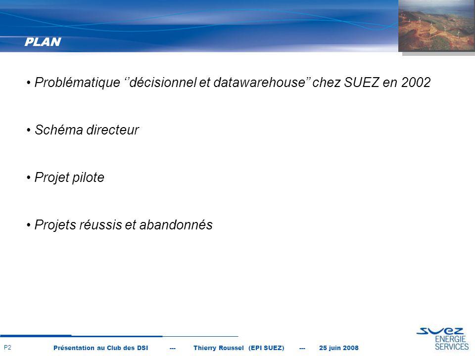 Problématique ''décisionnel et datawarehouse'' chez SUEZ en 2002
