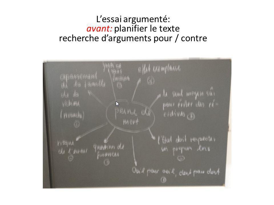 L'essai argumenté: avant: planifier le texte