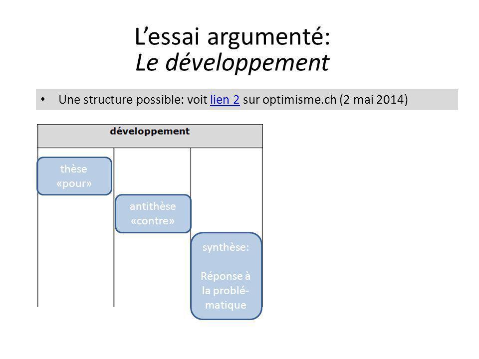 L'essai argumenté: Le développement