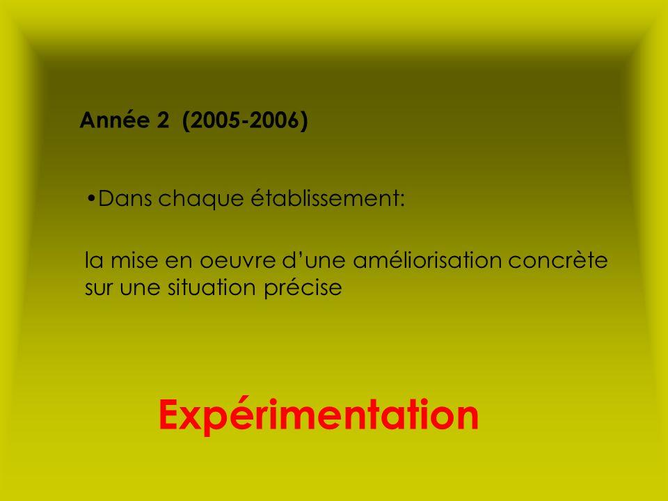 Expérimentation Année 2 (2005-2006) Dans chaque établissement: