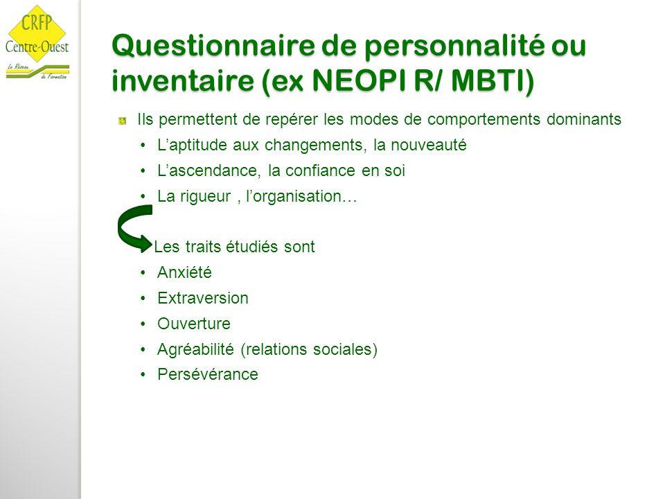 Questionnaire de personnalité ou inventaire (ex NEOPI R/ MBTI)
