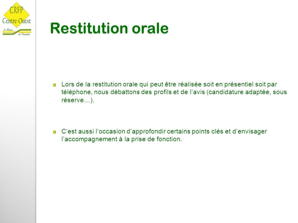 Restitution orale