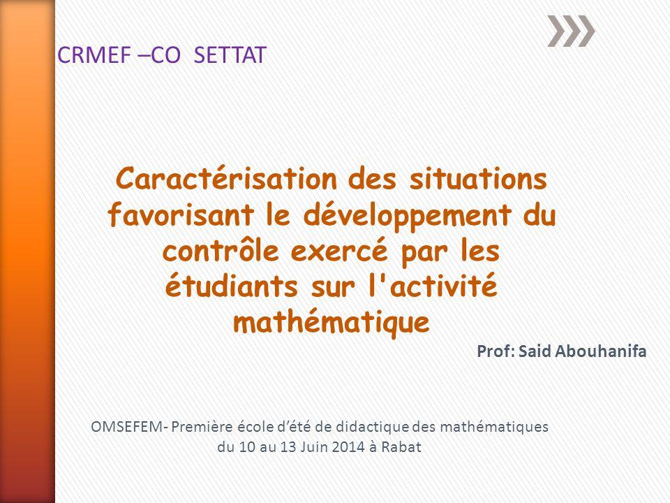 OMSEFEM- Première école d'été de didactique des mathématiques
