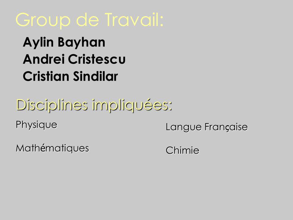 Group de Travail: Disciplines impliquées: Aylin Bayhan