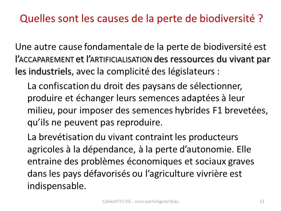 Quelles sont les causes de la perte de biodiversité