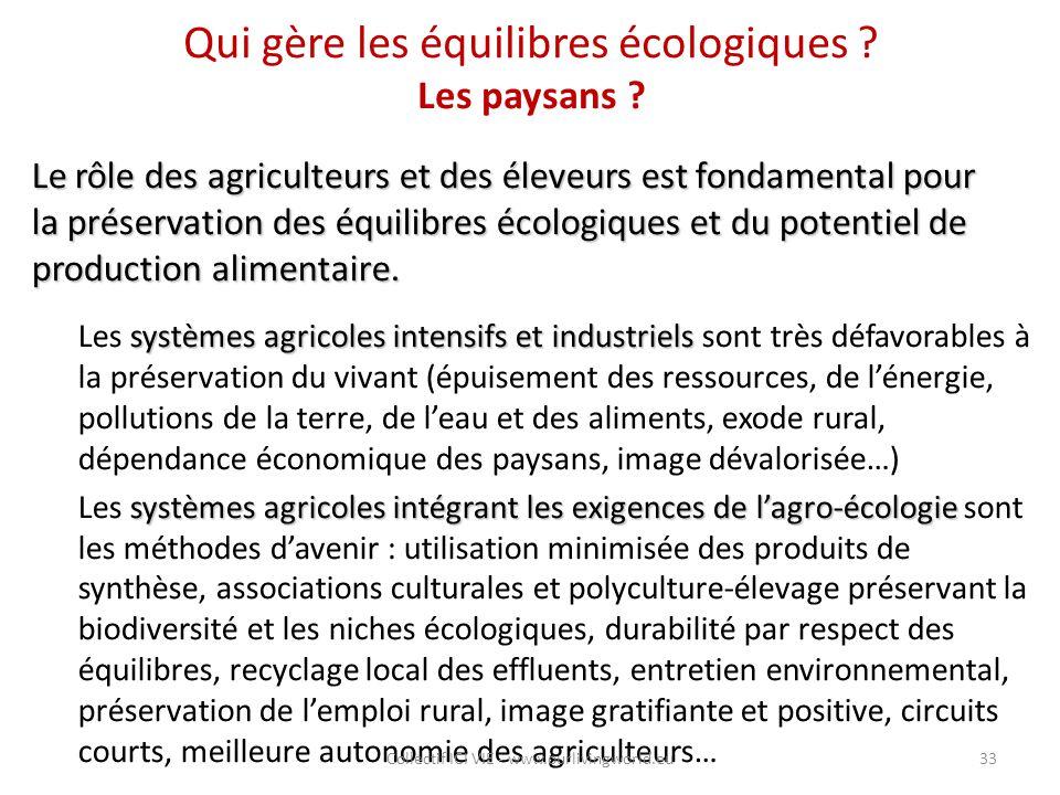 Qui gère les équilibres écologiques Les paysans