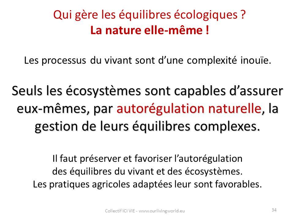 Qui gère les équilibres écologiques La nature elle-même !