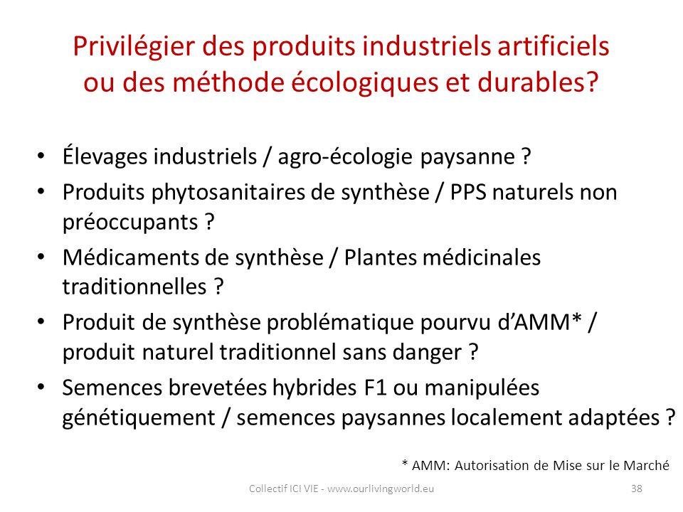 Privilégier des produits industriels artificiels ou des méthode écologiques et durables