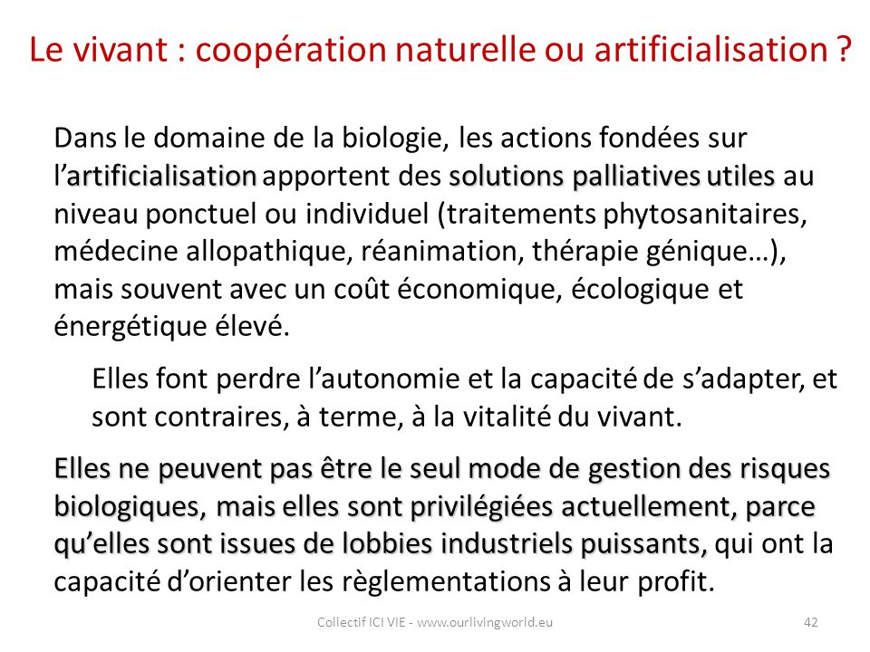 Le vivant : coopération naturelle ou artificialisation