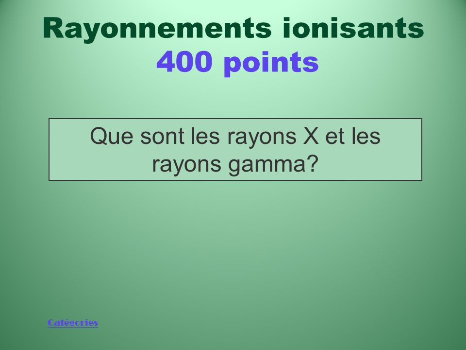 Rayonnements ionisants 400 points