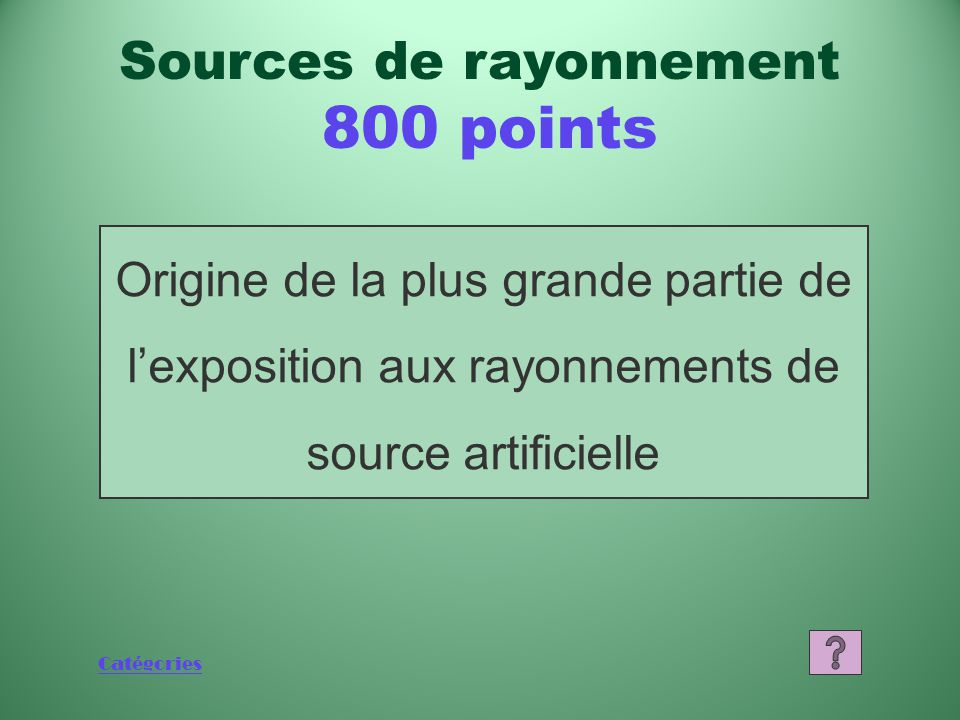 Sources de rayonnement 800 points
