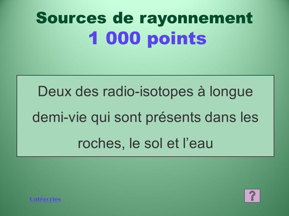 Sources de rayonnement 1 000 points