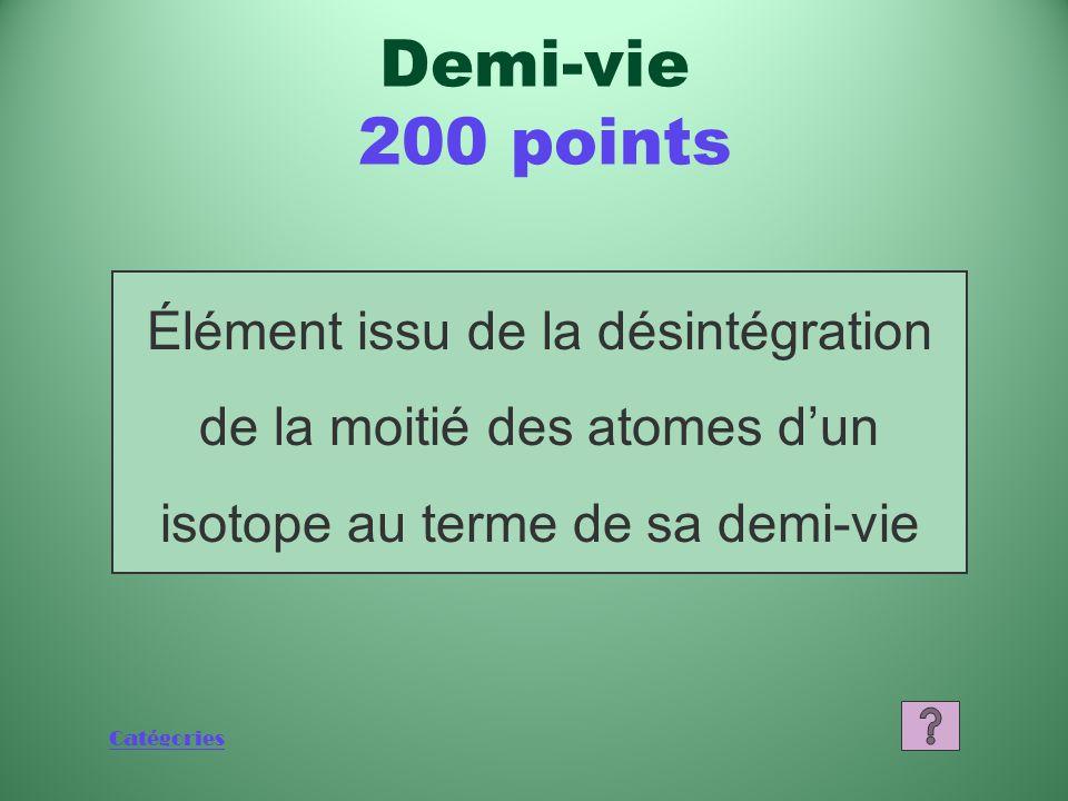 Demi-vie 200 points Élément issu de la désintégration de la moitié des atomes d'un isotope au terme de sa demi-vie.