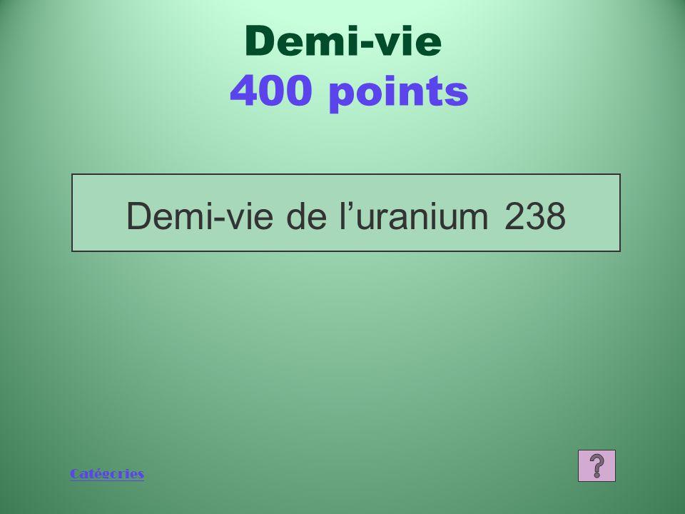 Demi-vie 400 points Demi-vie de l'uranium 238