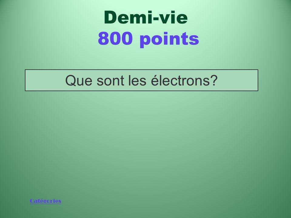 Demi-vie 800 points Que sont les électrons