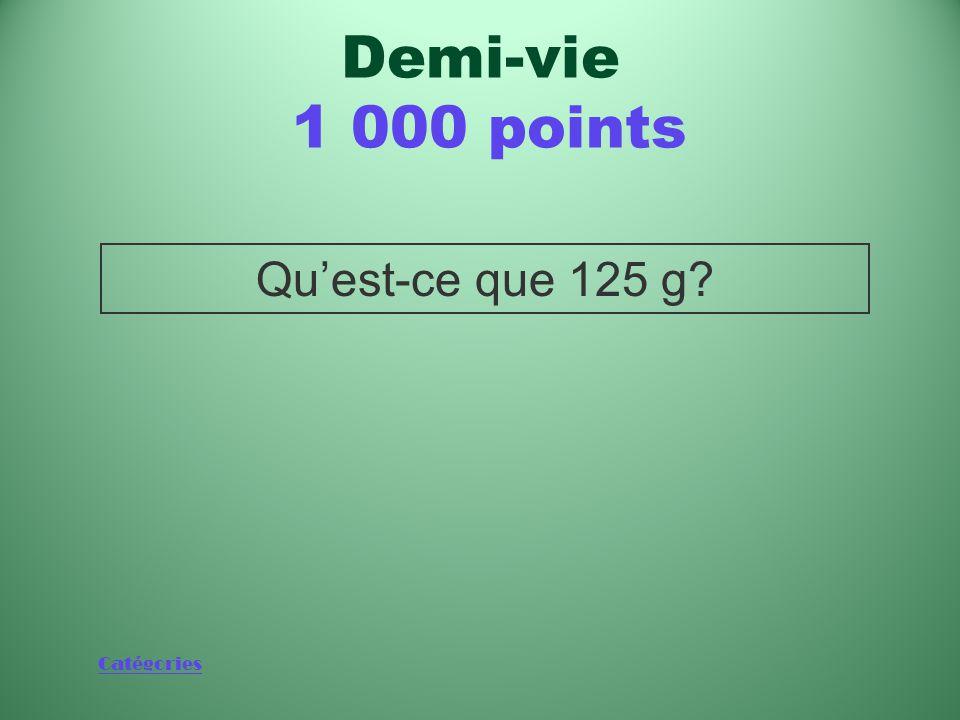 Demi-vie 1 000 points Qu'est-ce que 125 g