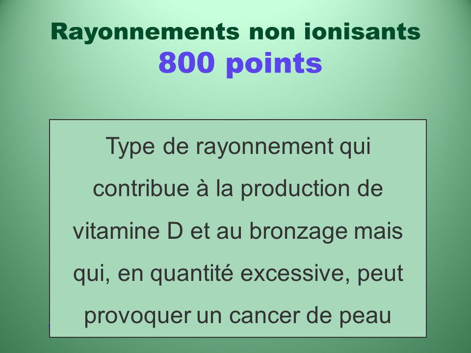 Rayonnements non ionisants 800 points