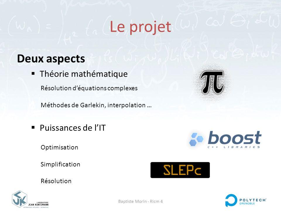 Le projet Deux aspects Théorie mathématique Puissances de l'IT