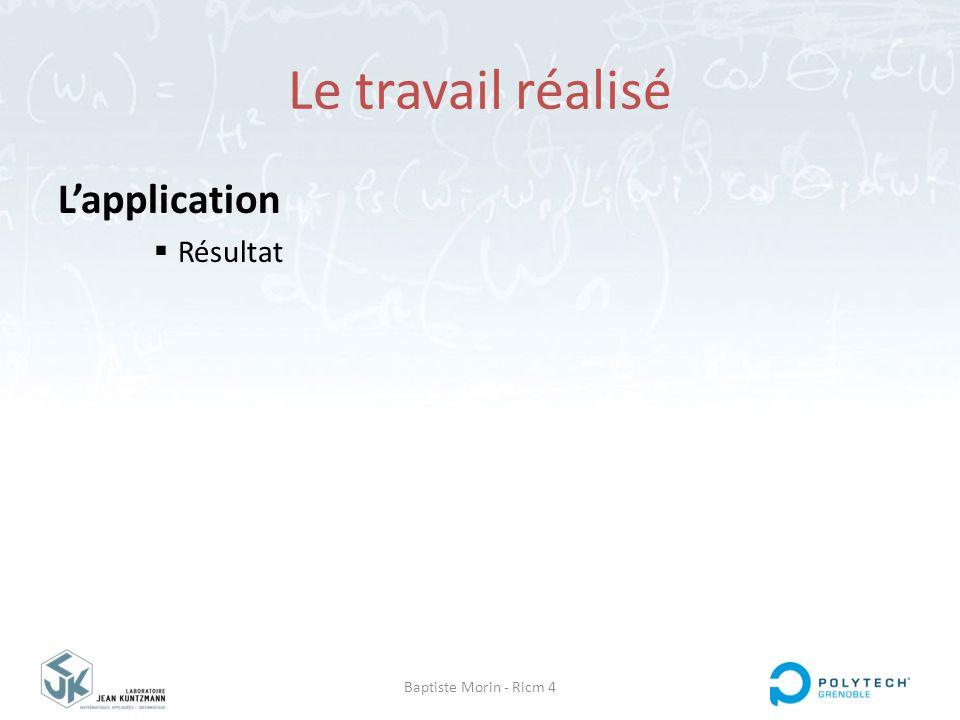 Le travail réalisé L'application Résultat Baptiste Morin - Ricm 4