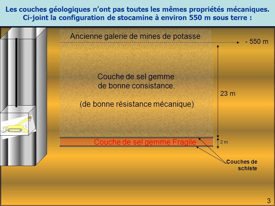 Ci-joint la configuration de stocamine à environ 550 m sous terre :