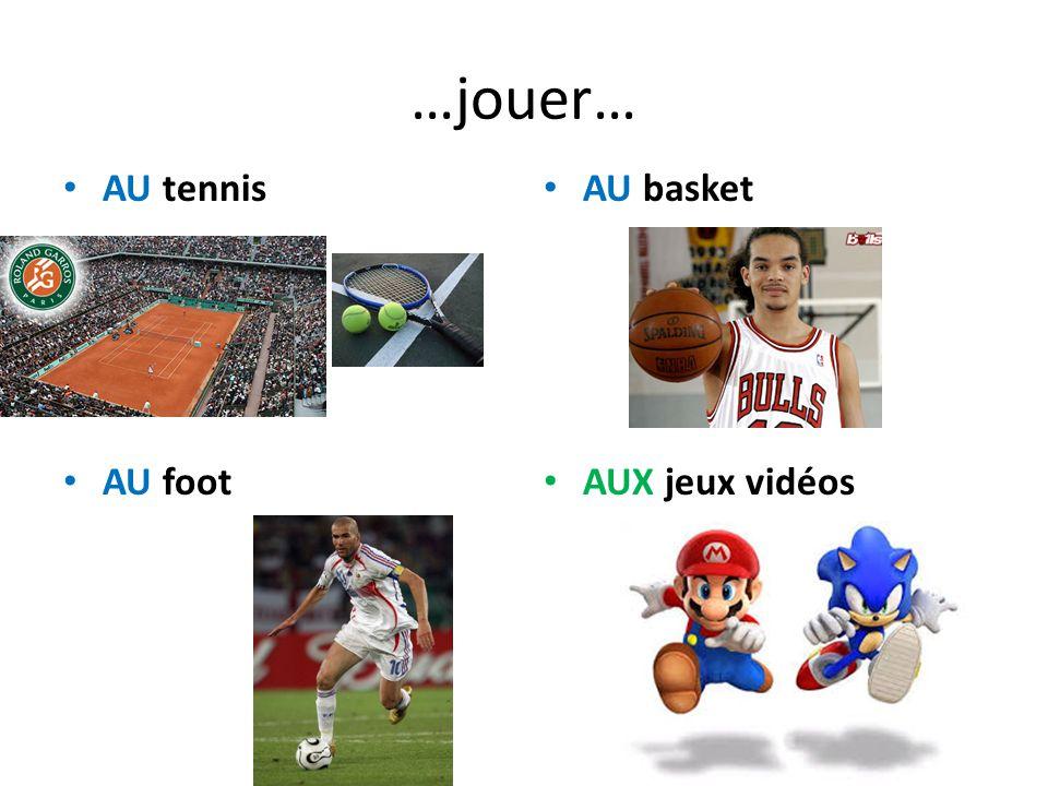 …jouer… AU tennis AU foot AU basket AUX jeux vidéos