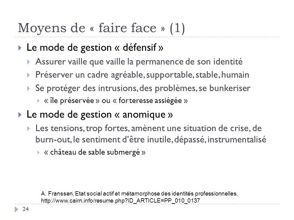 Moyens de « faire face » (1)