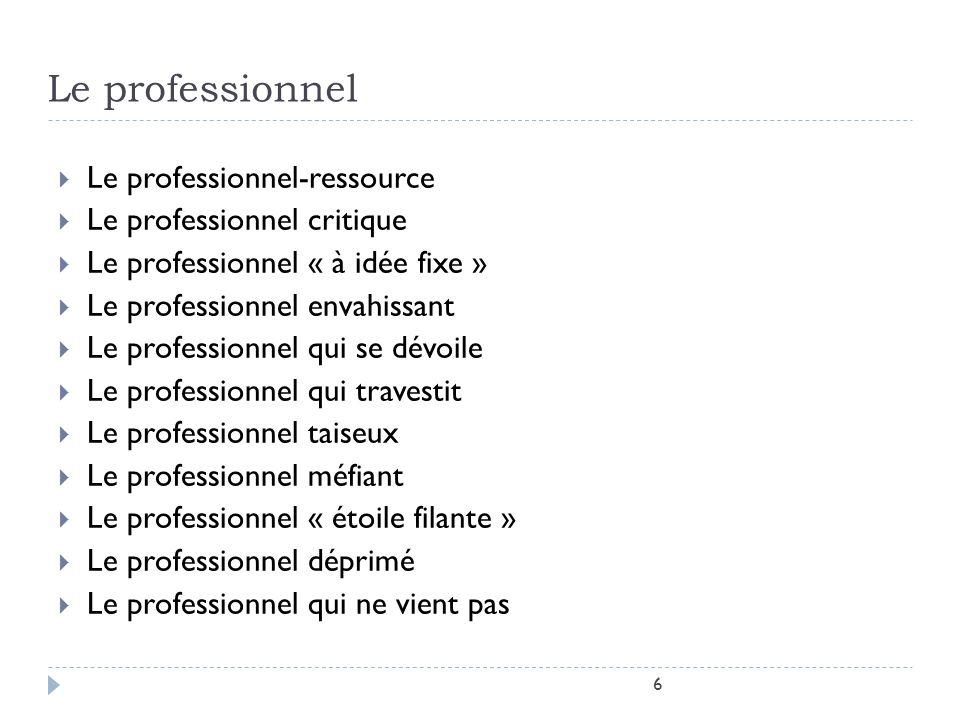 Le professionnel Le professionnel-ressource Le professionnel critique