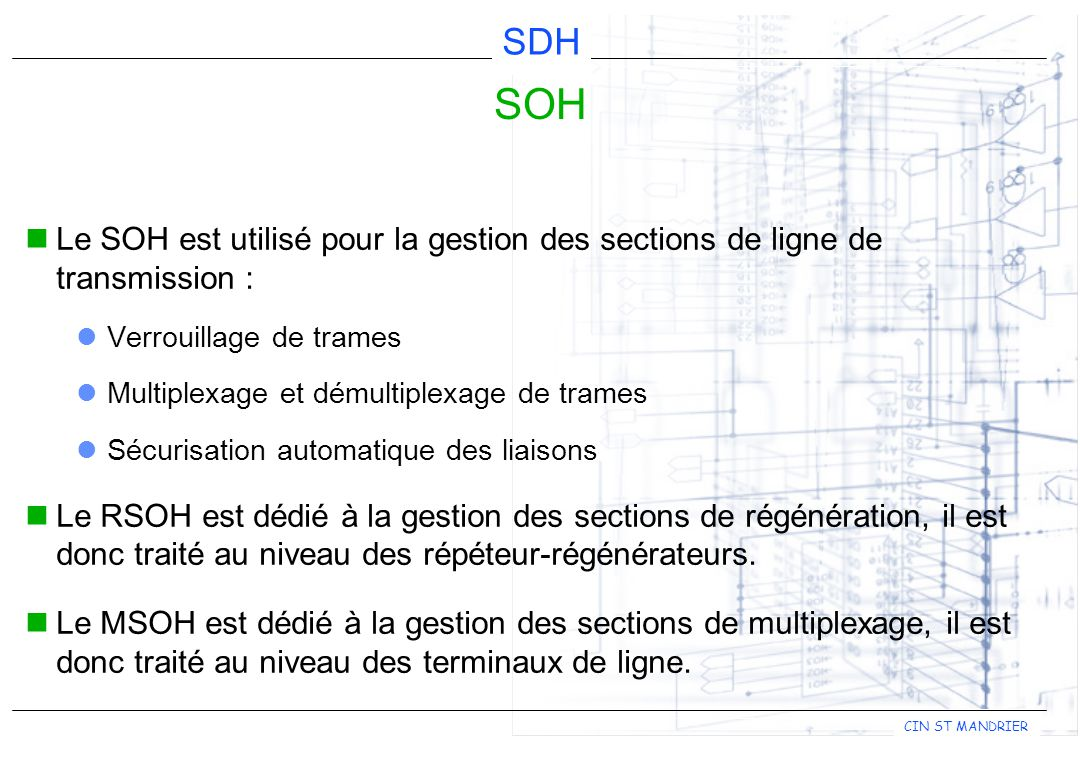 SOH Le SOH est utilisé pour la gestion des sections de ligne de transmission : Verrouillage de trames.