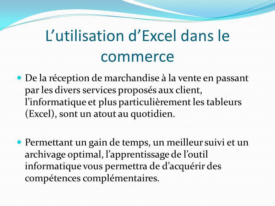 L'utilisation d'Excel dans le commerce