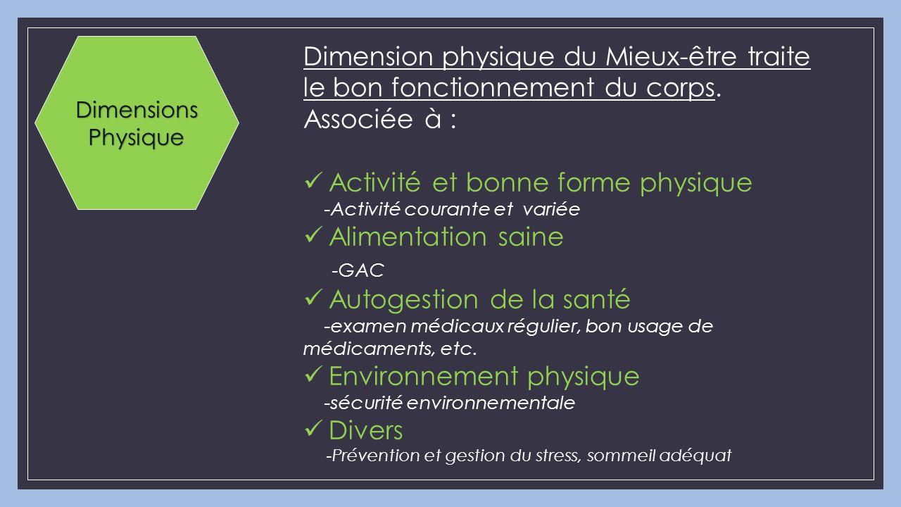 Activité et bonne forme physique Alimentation saine -GAC