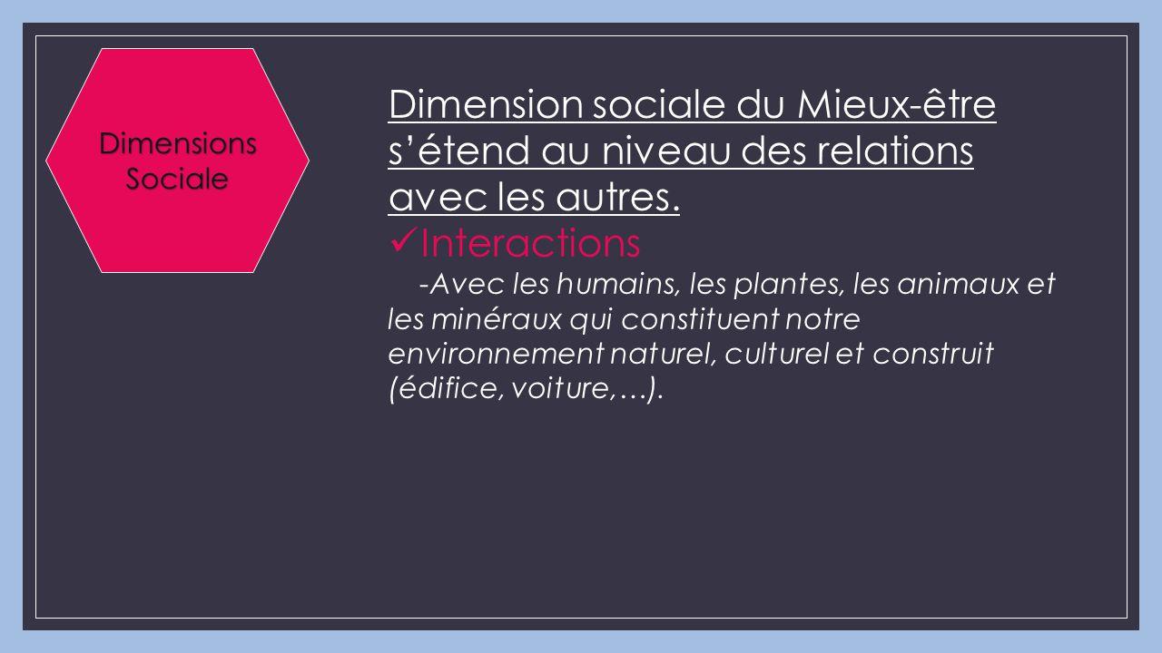 Dimensions Sociale Dimension sociale du Mieux-être s'étend au niveau des relations avec les autres.