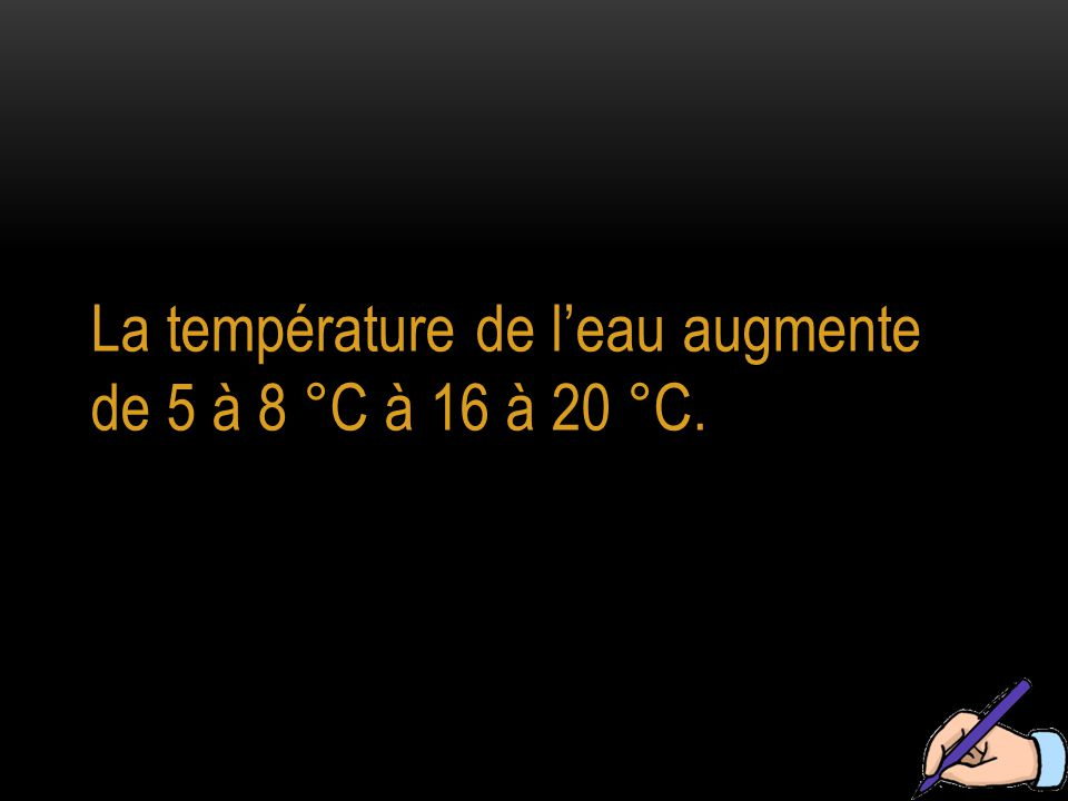 La température de l'eau augmente de 5 à 8 °C à 16 à 20 °C.