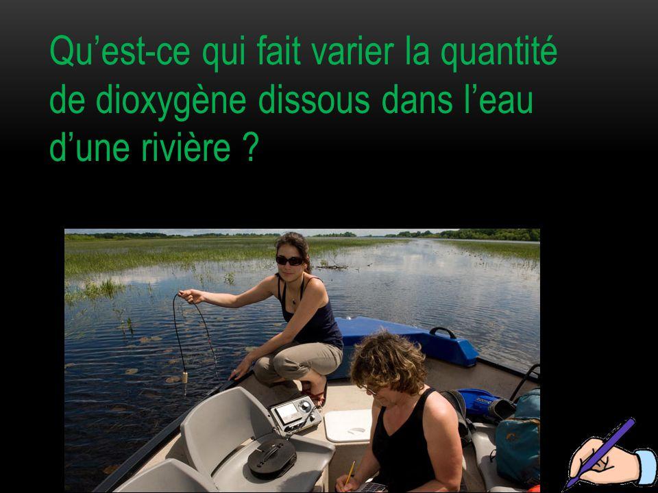 Qu'est-ce qui fait varier la quantité de dioxygène dissous dans l'eau d'une rivière