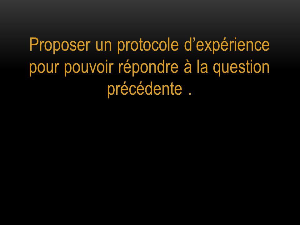 Proposer un protocole d'expérience pour pouvoir répondre à la question précédente .