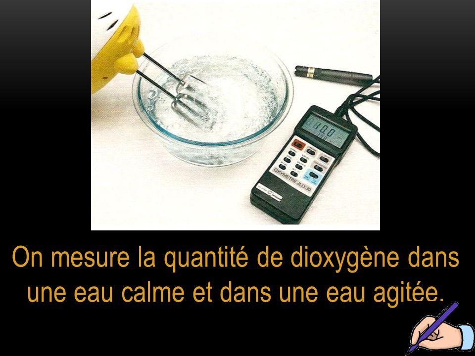 On mesure la quantité de dioxygène dans une eau calme et dans une eau agitée.