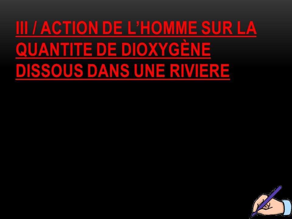 Iii / action de l'homme sur la quantite de dioxygène dissous dans une riviere