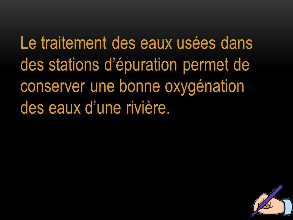 Le traitement des eaux usées dans des stations d'épuration permet de conserver une bonne oxygénation des eaux d'une rivière.