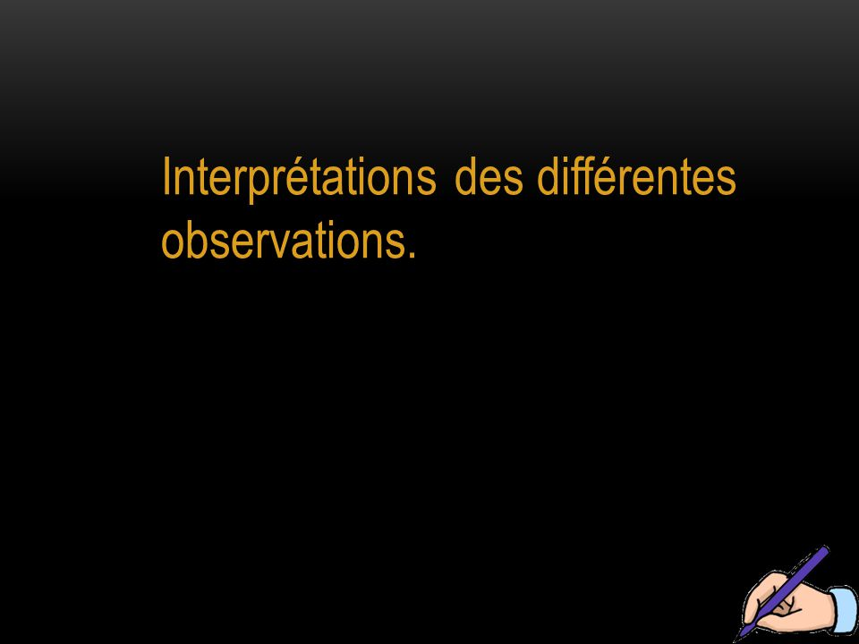 Interprétations des différentes observations.