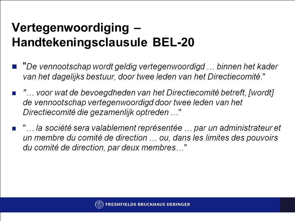 Vertegenwoordiging – Handtekeningsclausule BEL-20