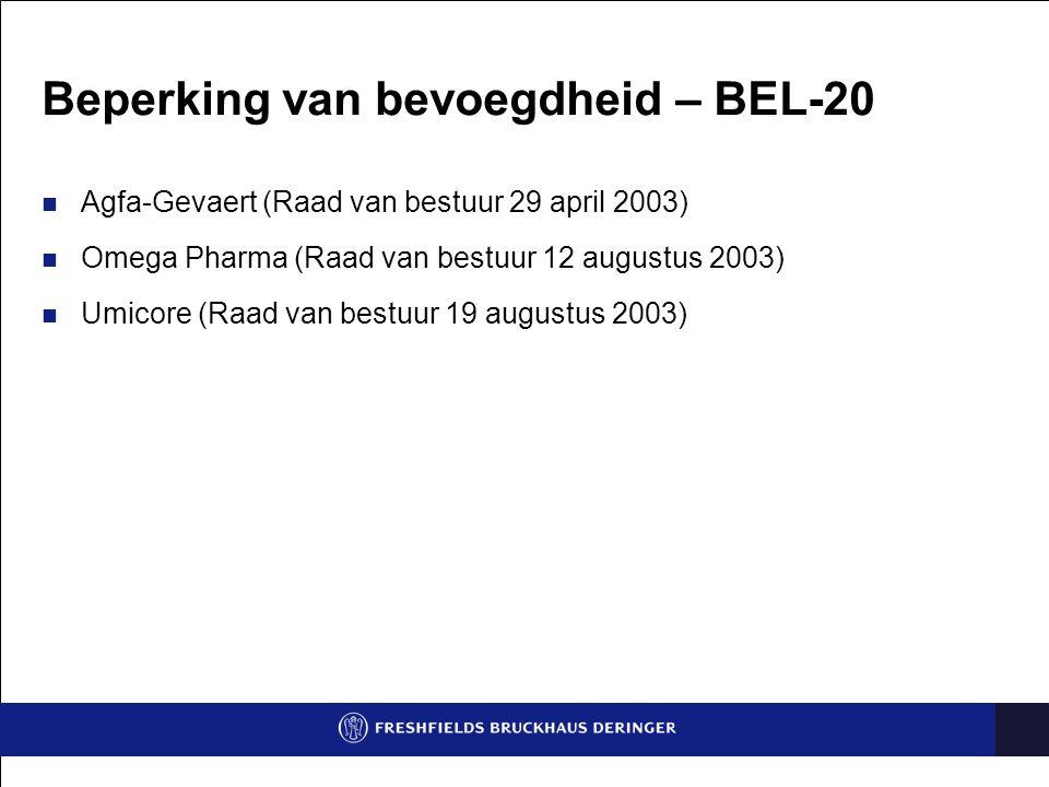 Beperking van bevoegdheid – BEL-20