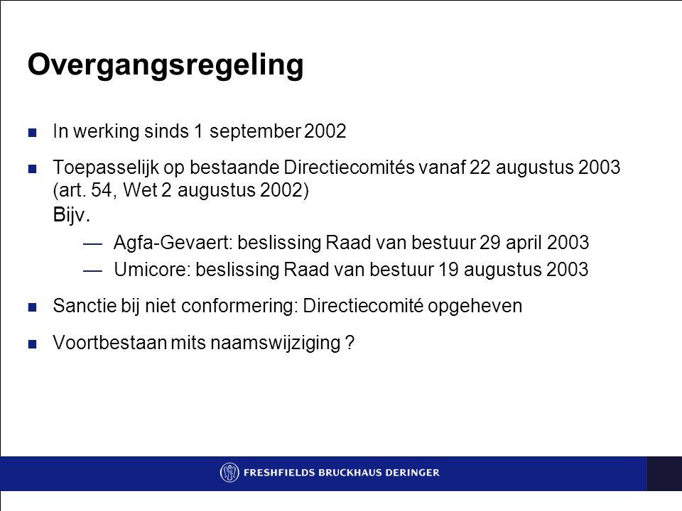 Overgangsregeling In werking sinds 1 september 2002