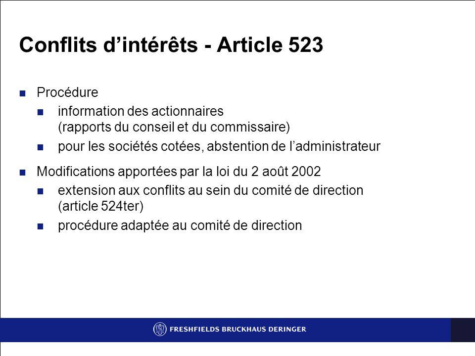 Conflits d'intérêts - Article 523